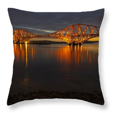 Throw Pillow featuring the photograph Daybreak At The Forth Bridge by Ross G Strachan