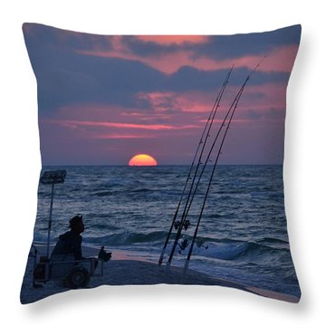 Daybreak On Navarre Beach With Deng The Fisherman Throw Pillow by Jeff at JSJ Photography
