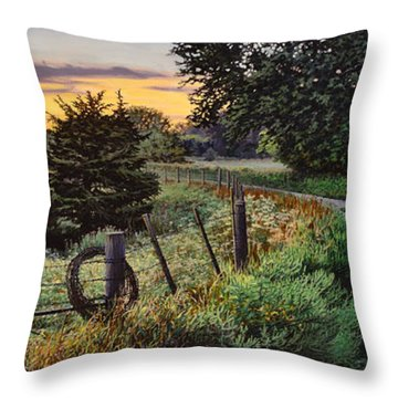 Daybreak Southwest Corner Fenceline Throw Pillow
