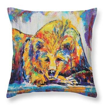Daydreaming Bear Throw Pillow by Jennifer Godshalk