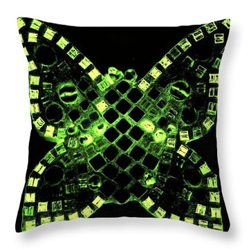 Dayglo Butterfly Throw Pillow by Lisa Brandel