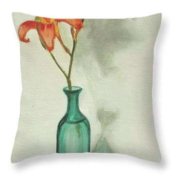 Daylily Throw Pillow by Sarah Lynch