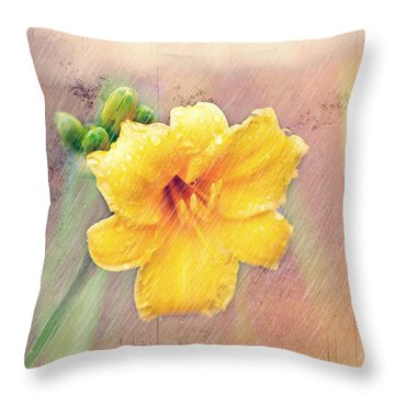 Daylily  Showers Throw Pillow