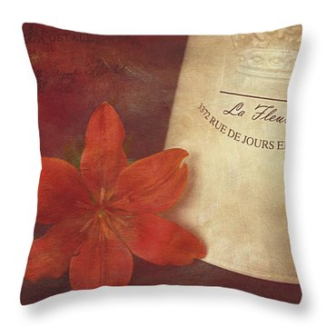 Daylily Vintage Postcard Throw Pillow