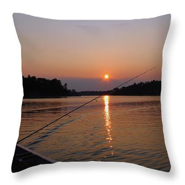 Sunset Fishing Throw Pillow by Debbie Oppermann