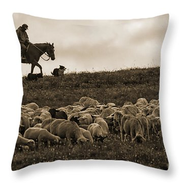 Days End Sheep Herding Throw Pillow