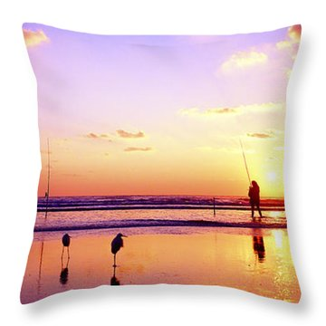 Throw Pillow featuring the photograph Daytona Beach Fl Surf Fishing And Birds by Tom Jelen