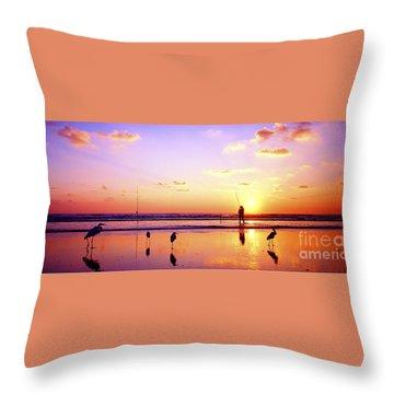 Daytona Beach Fl Surf Fishing And Birds Throw Pillow