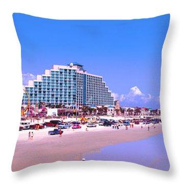 Throw Pillow featuring the photograph Daytona Main Street Pier And Beach  by Tom Jelen
