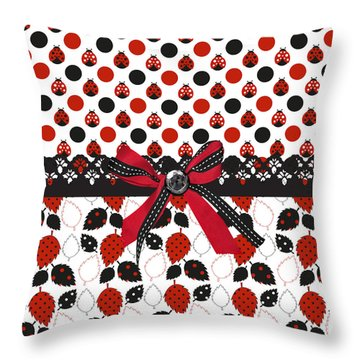 Dazzling Ladybugs  Throw Pillow by Debra  Miller
