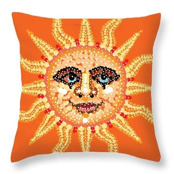 Throw Pillow featuring the digital art Dazzling Sun by R  Allen Swezey