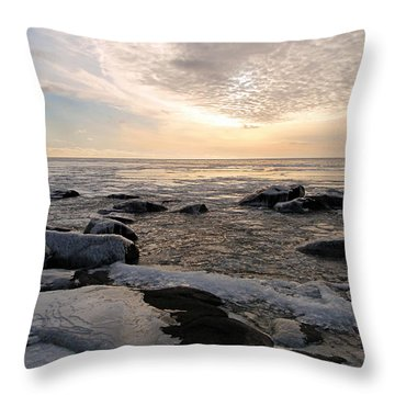 Dazzling Winter On Lake Superior Throw Pillow by James Peterson