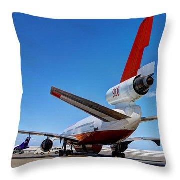 Throw Pillow featuring the photograph Dc-10 Air Tanker  by Bill Gabbert