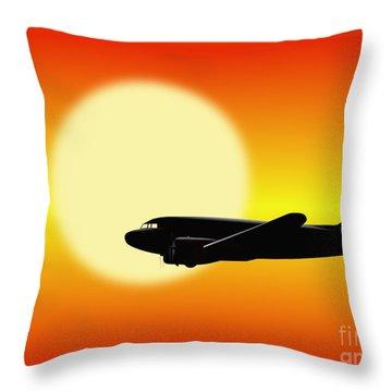 Dc-3 Passing Sun Throw Pillow