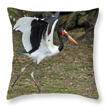 Saddle-billed Stork Throw Pillow