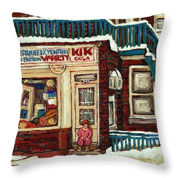 De Bullion Street Depanneur Kik Cola Montreal Streetscenes Throw Pillow by Carole Spandau