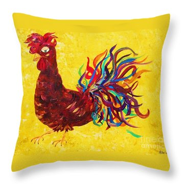 De Colores Rooster Throw Pillow by Eloise Schneider
