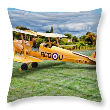 De Havilland Dh82 Tiger Moth Throw Pillow