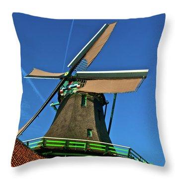 De Kat Blue Skies Throw Pillow by Jonah  Anderson
