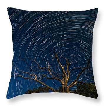 Dead Oak With Star Trails Throw Pillow