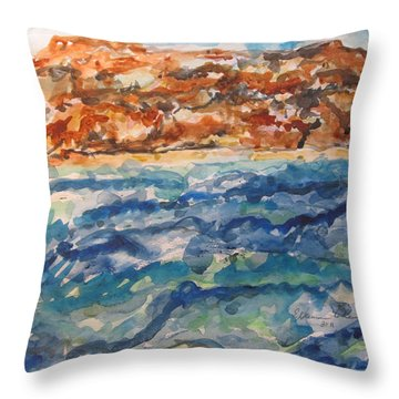 Dead Sea Reflections Throw Pillow by Esther Newman-Cohen
