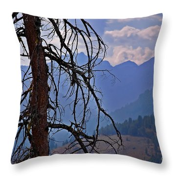 Dead Tree Mountains Landscape Throw Pillow by Valerie Garner