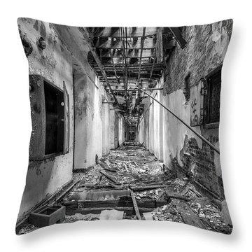 Deadly Corridor - Abandoned Asylum Building Throw Pillow by Gary Heller