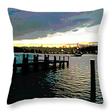 Deale Maryland Harbour Seascape Throw Pillow