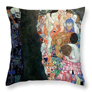 Death And Life Throw Pillow by Gustive Klimt