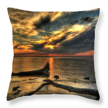 Death By Tide Throw Pillow by Greg and Chrystal Mimbs
