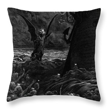 Death-fires Dancing Around The Becalmed Ship Throw Pillow by Gustave Dore