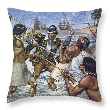 Death Of Ferdinand Magellan Colour Litho Throw Pillow