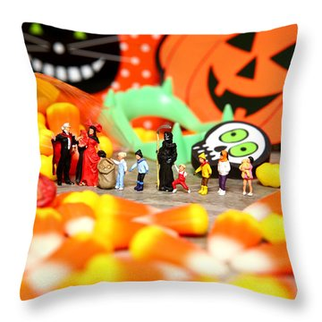 Death Takes His Kids Trick Or Treating Throw Pillow by Lon Casler Bixby