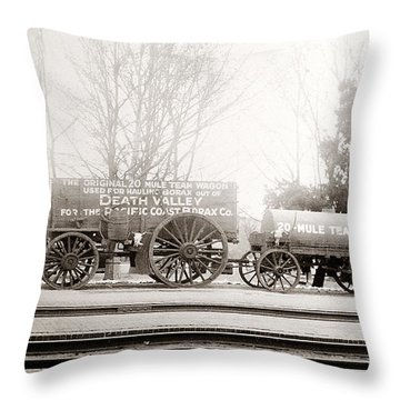 Death Valley Borax Mule Team Throw Pillow by Marilyn Hunt