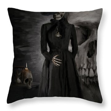 Deathly Grace Throw Pillow by Lourry Legarde
