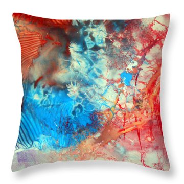 Throw Pillow featuring the painting Decalcomaniac Colorfield Abstraction Without Number by Otto Rapp