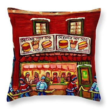 Decarie Hot Dog Restaurant Cosmix Comic Store Montreal Paintings Hockey Art Winter Scenes C Spandau Throw Pillow
