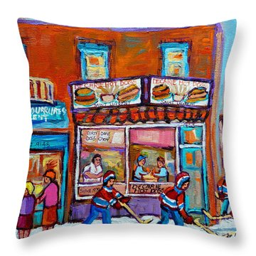 Decarie Hot Dog Restaurant Ville St. Laurent Montreal  Throw Pillow by Carole Spandau