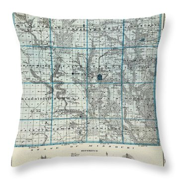 Decatur County Map Throw Pillow by Gianfranco Weiss