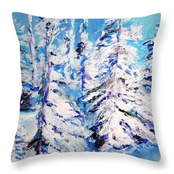 Throw Pillow featuring the painting December's Solitude by Helena Bebirian