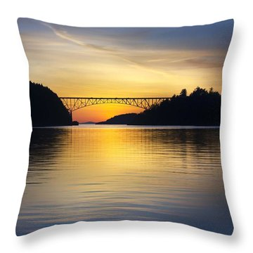 Throw Pillow featuring the photograph Deception Pass Bridge by Sonya Lang