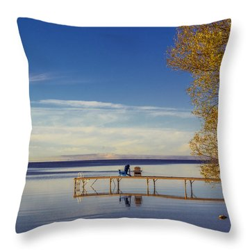 Deck Chairs On A Dock Throw Pillow