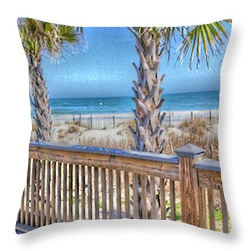 Throw Pillow featuring the photograph Deck On The Beach by Gayle Price Thomas