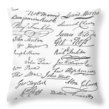 Declaration: Signatures Throw Pillow by Granger