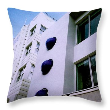 Throw Pillow featuring the photograph Deco Drive Polaroid by Gary Dean Mercer Clark