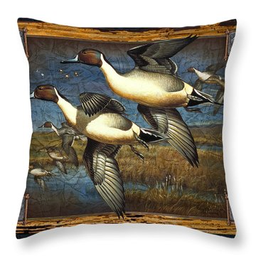 Deco Pintail Ducks Throw Pillow