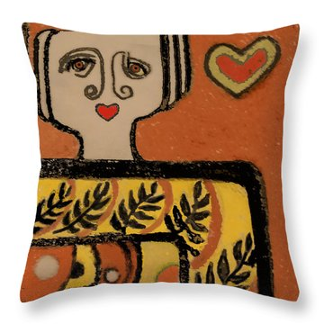 Throw Pillow featuring the painting Deco Queen Of Hearts by Carol Jacobs