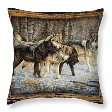 Deco Wolves Throw Pillow