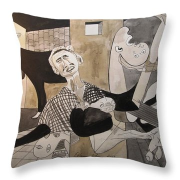 Deconstructing Picasso - La Agonia Espanola Throw Pillow by Esther Newman-Cohen