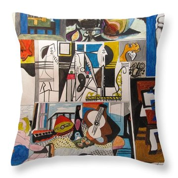 Deconstructing Picasso - Women And Musicians Throw Pillow by Esther Newman-Cohen